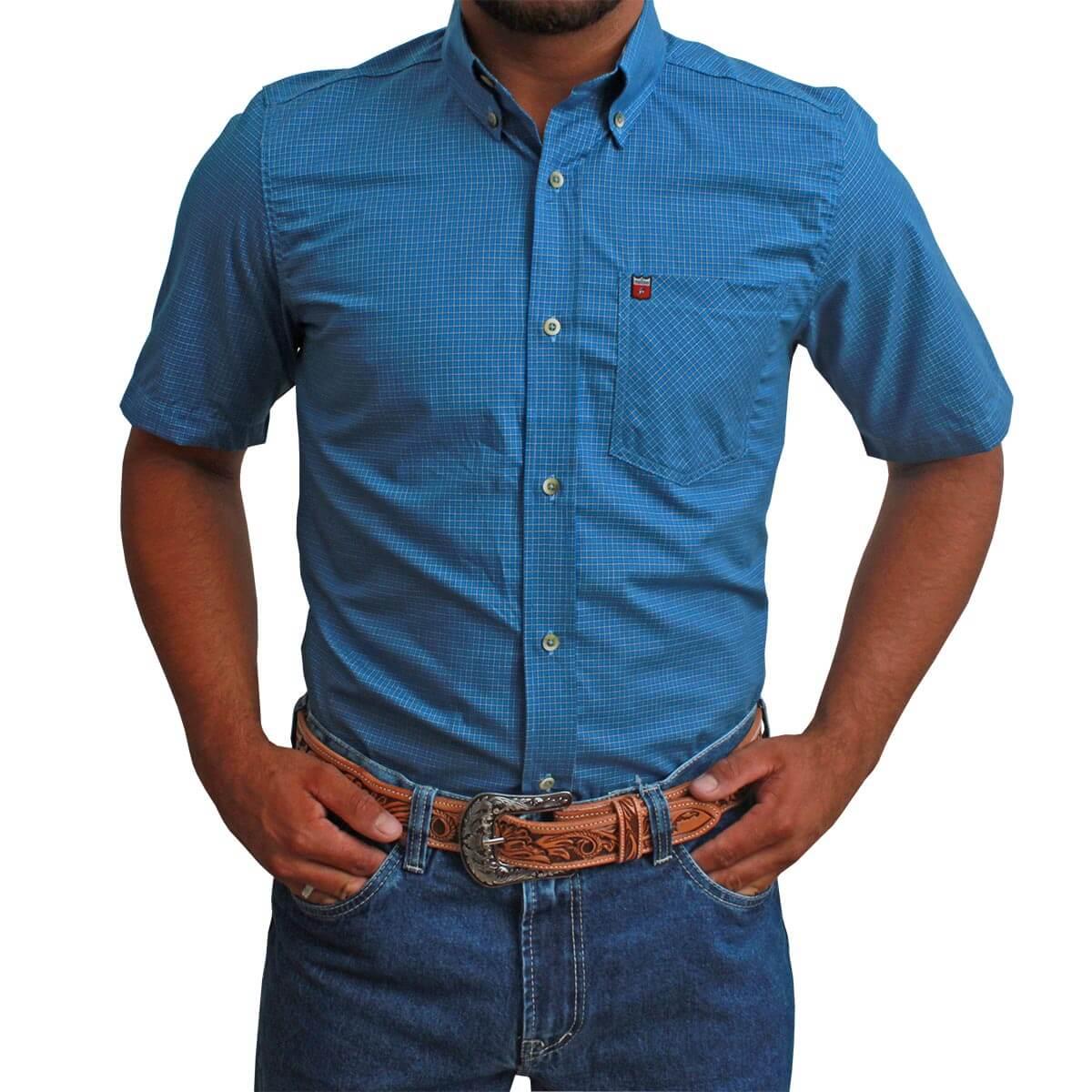Camisa Manga Curta Os Vaqueiros Masculina Azul