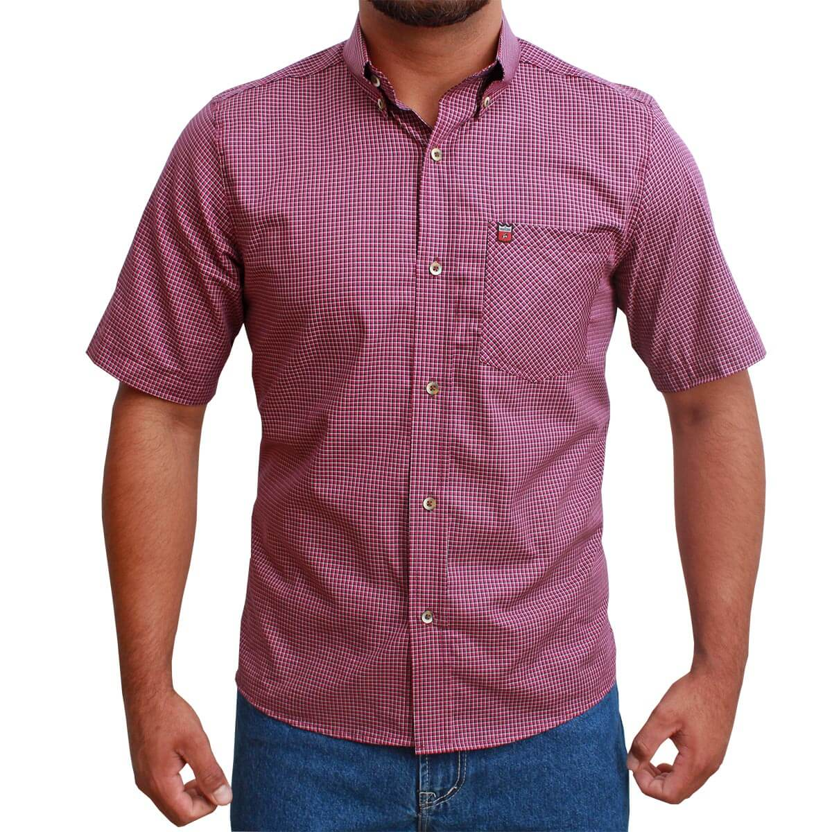Camisa Manga Curta Os Vaqueiros Masculino Xadrez Roxo