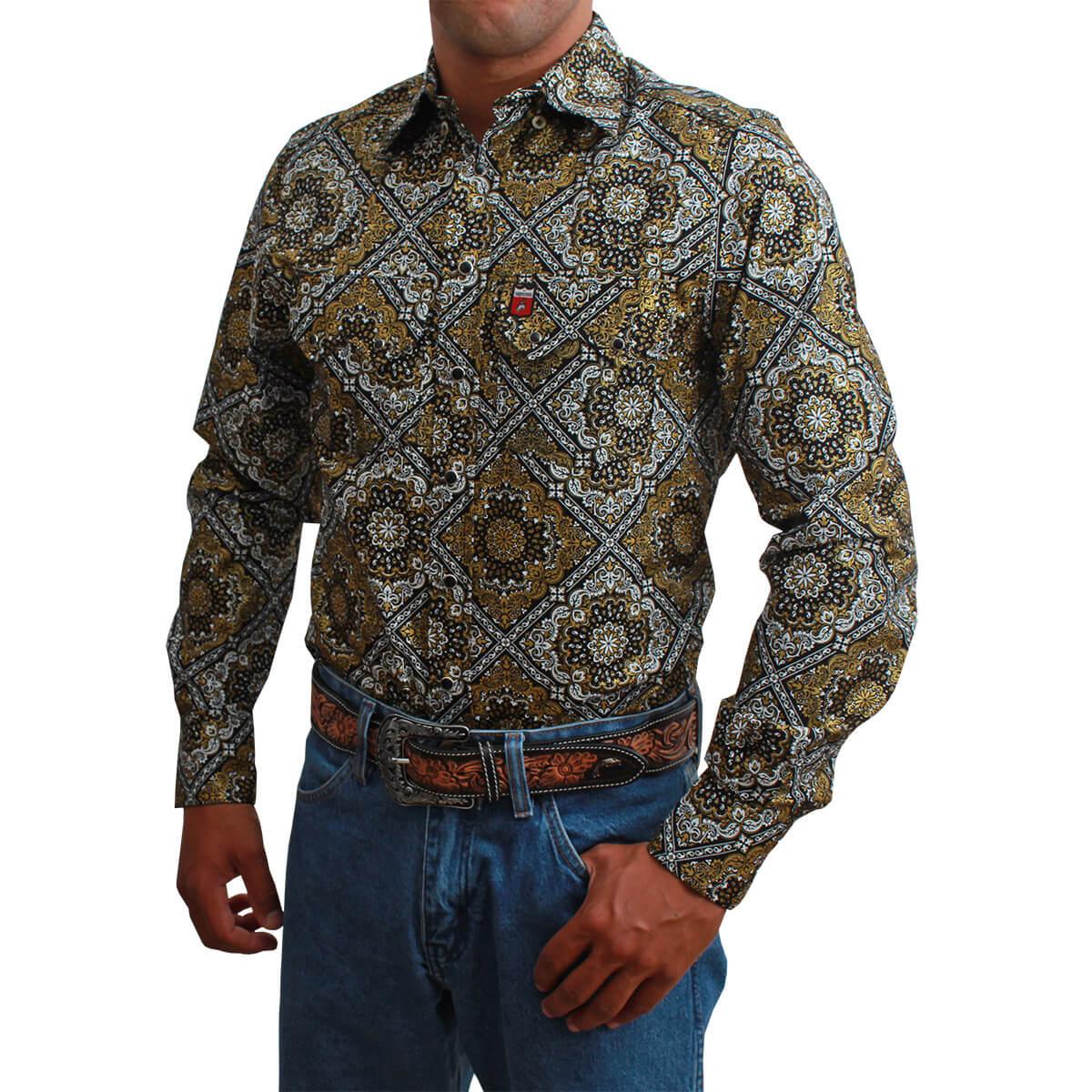 Camisa Masculina Os Vaqueiros Preta Com Floral