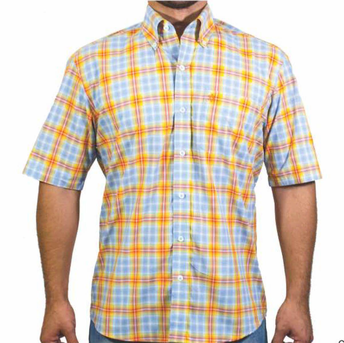 Camisa Tuff Masculina Xadrez Azul Listra Amarela E Vermelha - Arena Country  Echaporã e09ffd19dba99