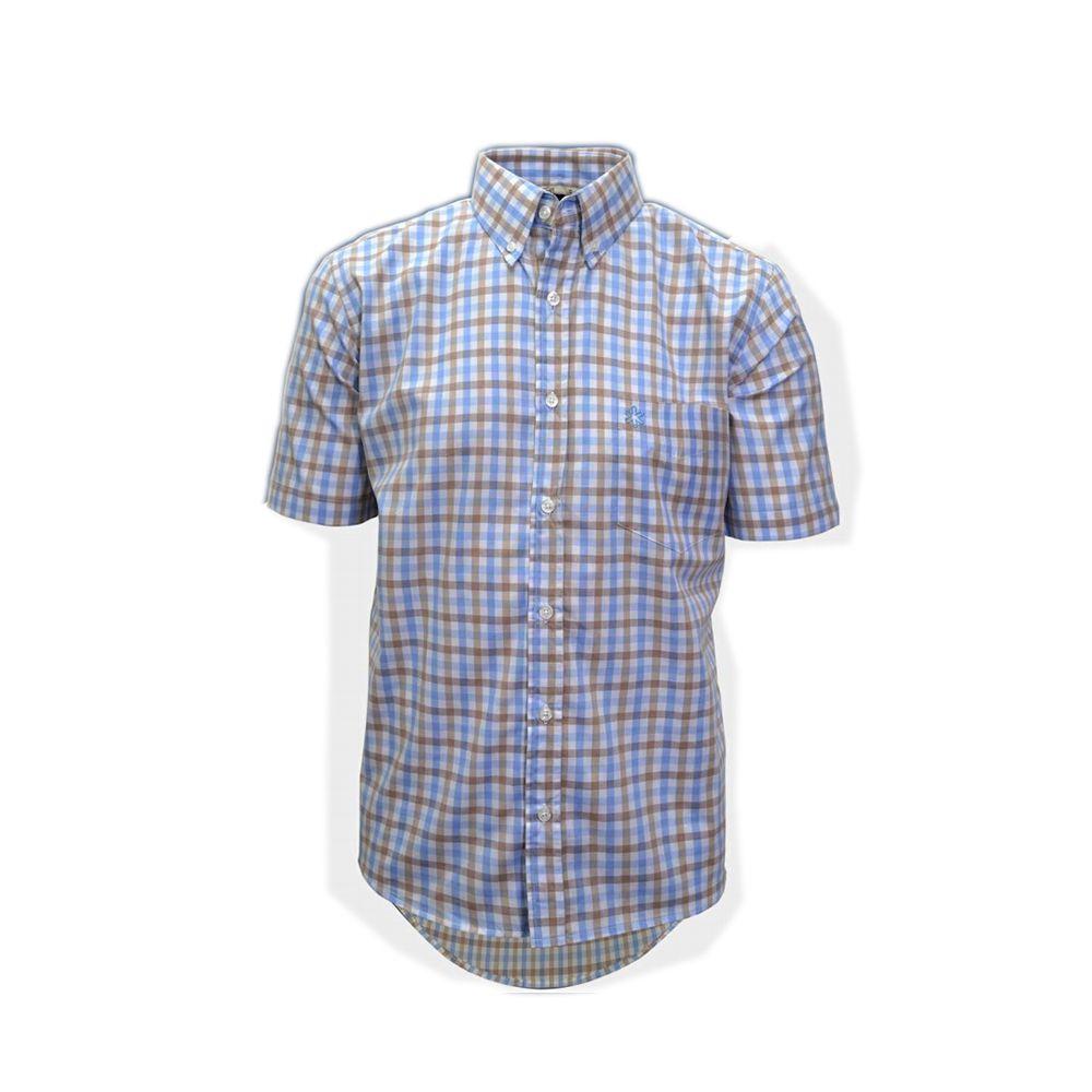Camisa Tuff Masculina Xadrez Azul Claro E Bege