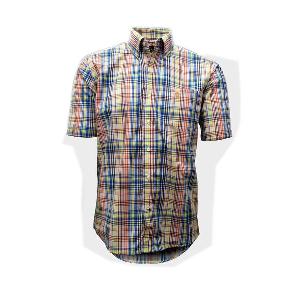 Camisa Tuff Masculina Xadrez Fruta Cor Logo Laranja