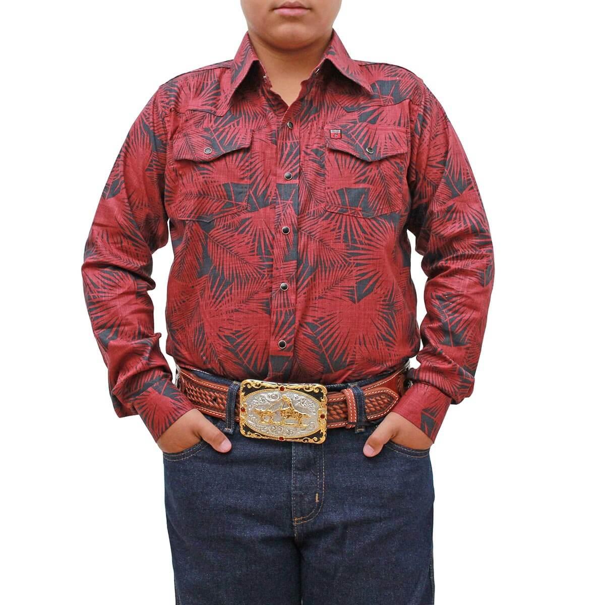 Camisa Os Vaqueiros Infantil Floral Vermelho Com Preto