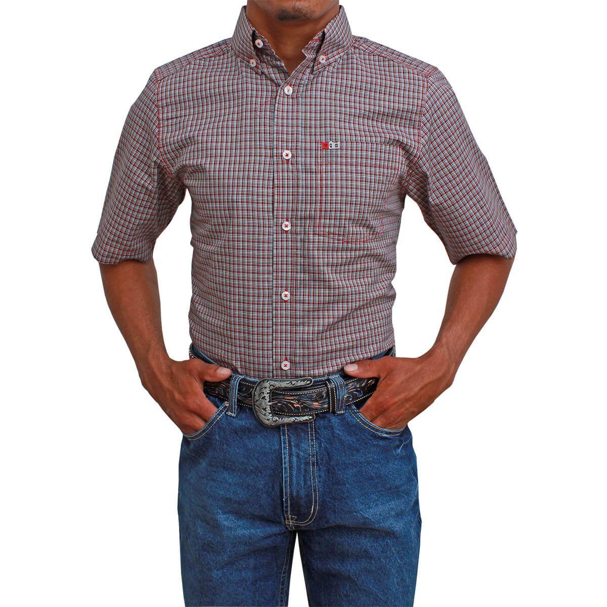 Camisa Os Vaqueiros Manga Curta Xadrez Pequeno