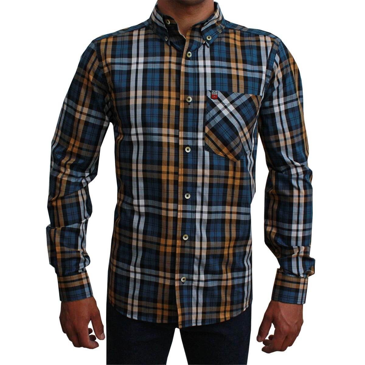 Camisa Os Vaqueiros Manga Longa Xadrez Grande Azul