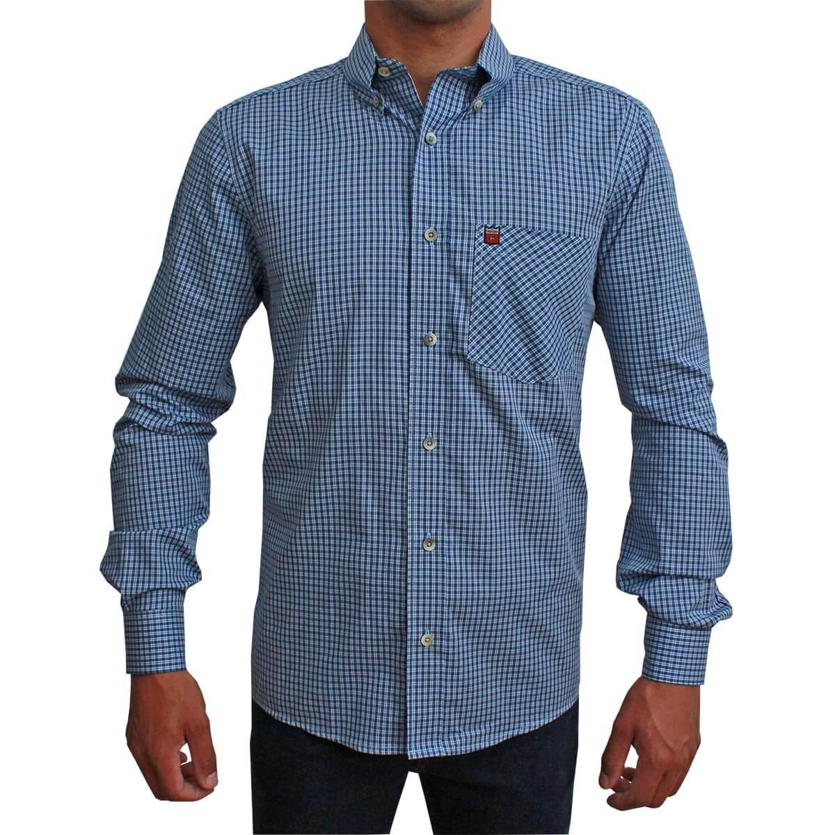 Camisa Os Vaqueiros Manga Longa Xadrez Pequeno Azul