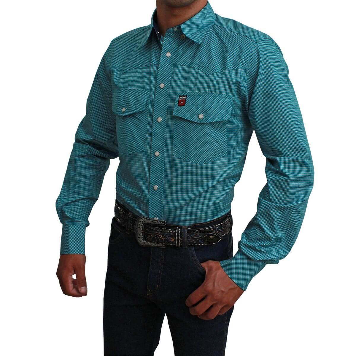 Camisa  Os Vaqueiros Manga Longa Xadrez Turquesa