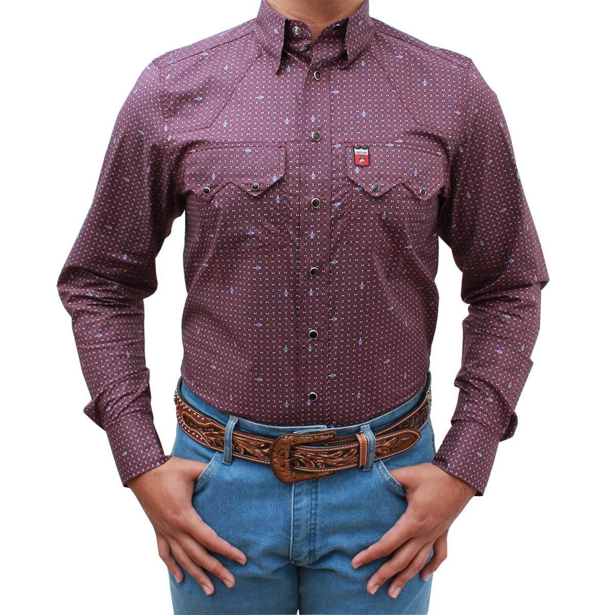 Camisa Os Vaqueiros Masculina Bordô