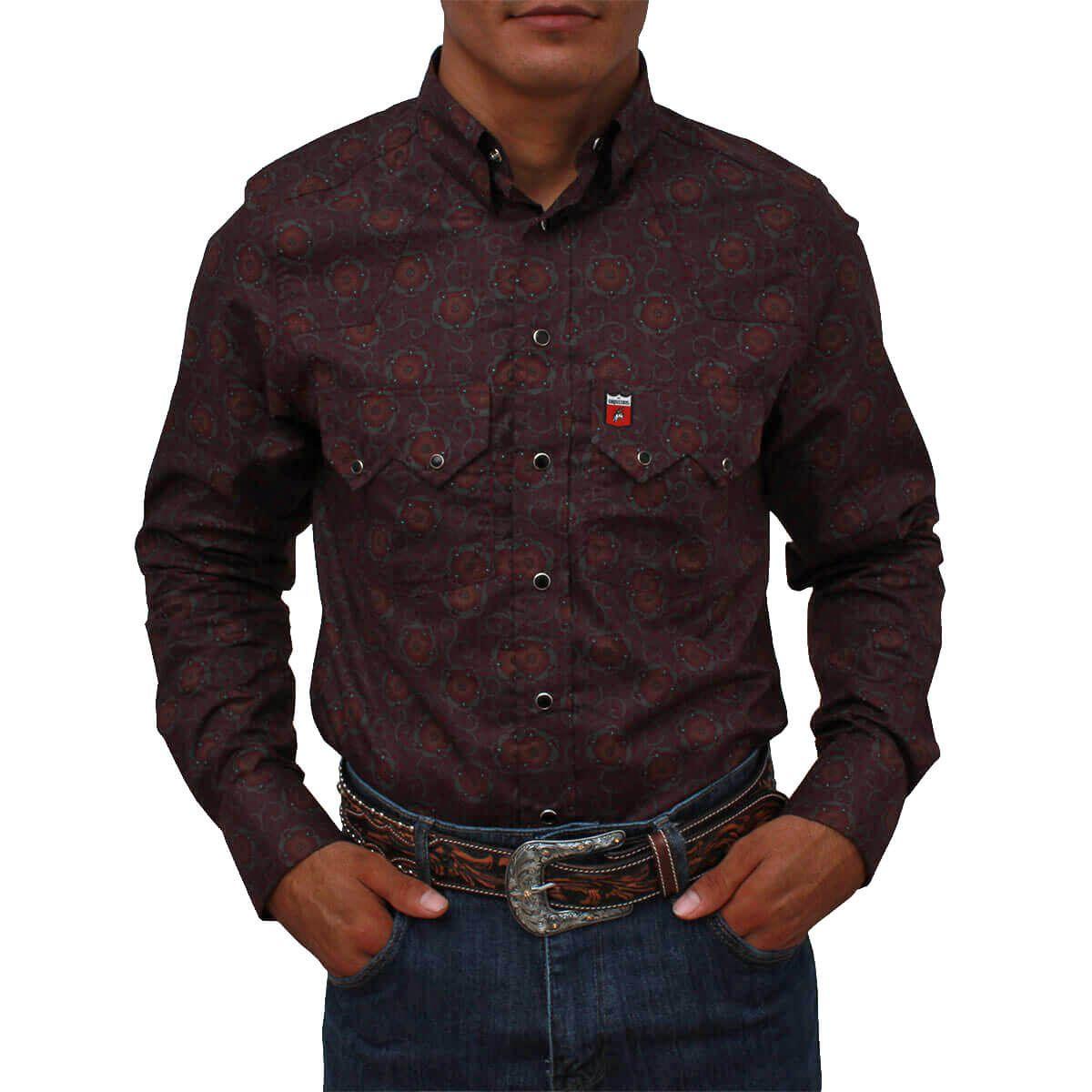 188f0690de Camisa Os Vaqueiros Masculina Floral Bordô Manga Longa - Arena Country  Echaporã