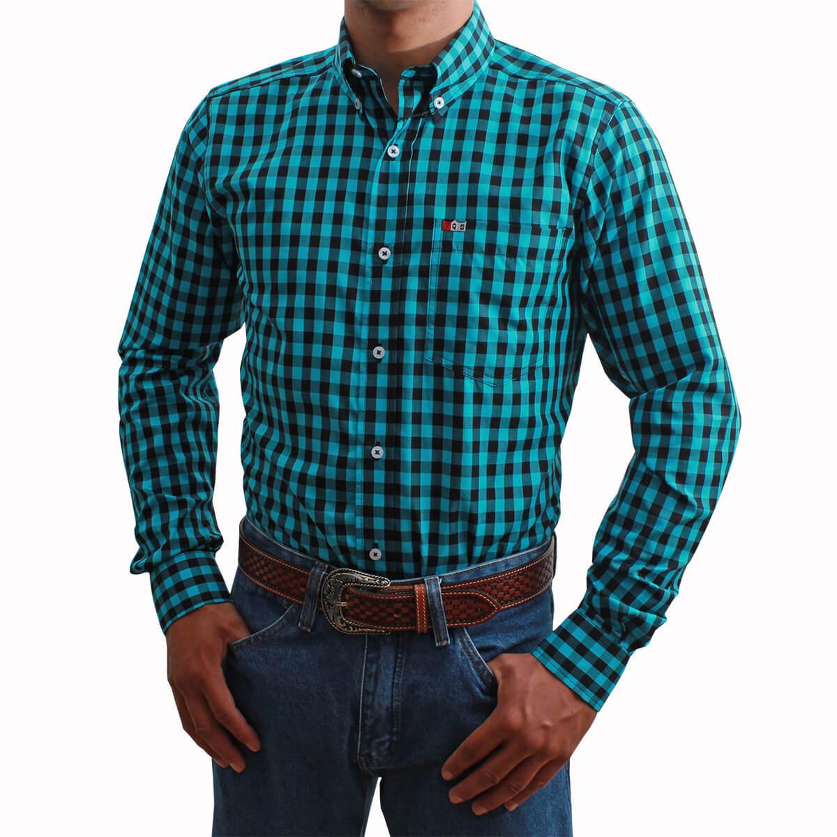 Camisa Os Vaqueiros Masculina Manga Longa Xadrez Azul