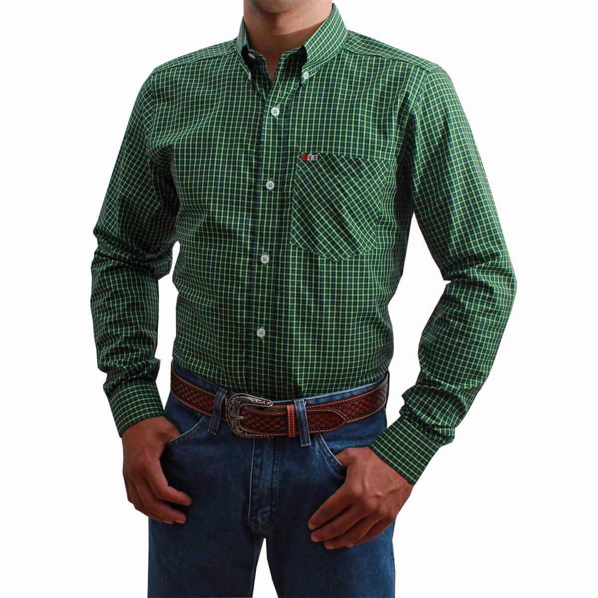 Camisa Os Vaqueiros Masculina Manga Longa Xadrez Verde