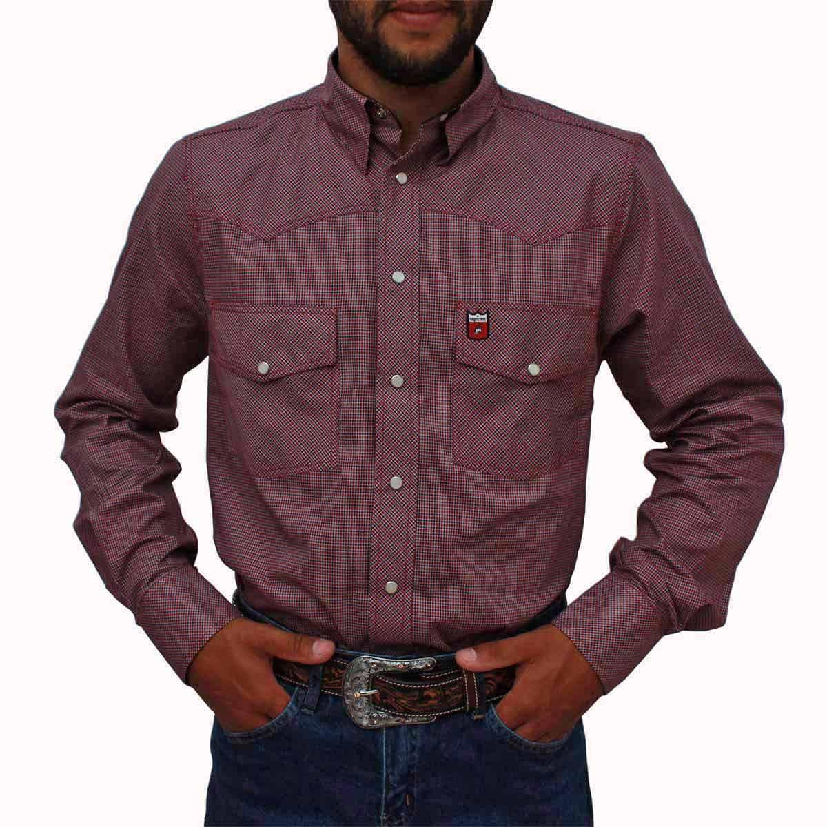 df623f4117 Camisa Os Vaqueiros Masculina Xadrez Vermelha Manga Longa - Arena Country  Echaporã
