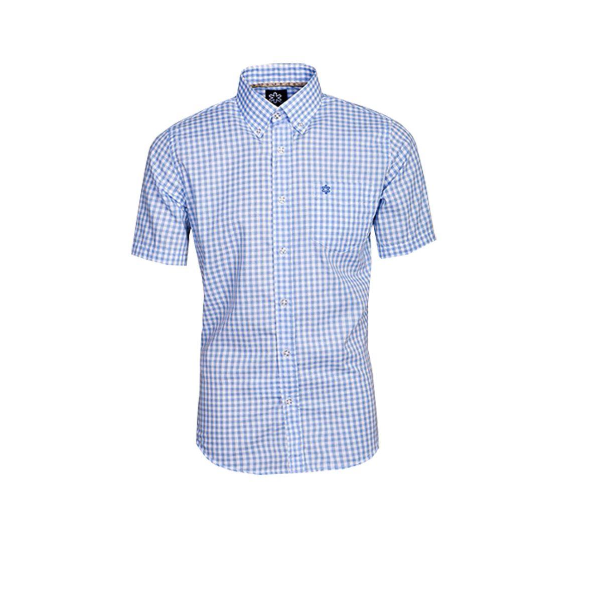 Camisa Tuff Manga Curta Xadrez Azul Claro Logo Azul