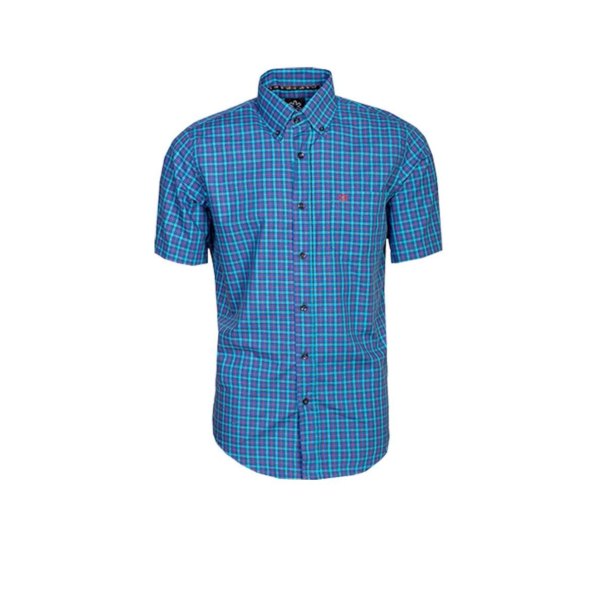 Camisa Tuff Manga Curta Xadrez Azul Marinho E Turquesa