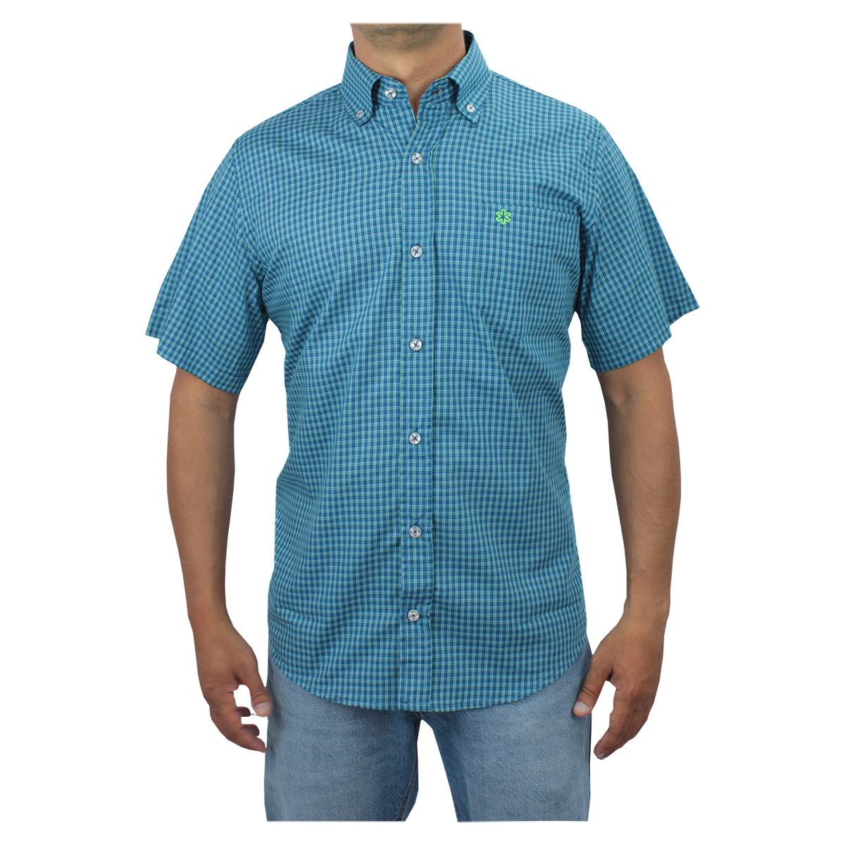 Camisa Tuff Masculina Manga Curta Xadrez Azul Logo Verde