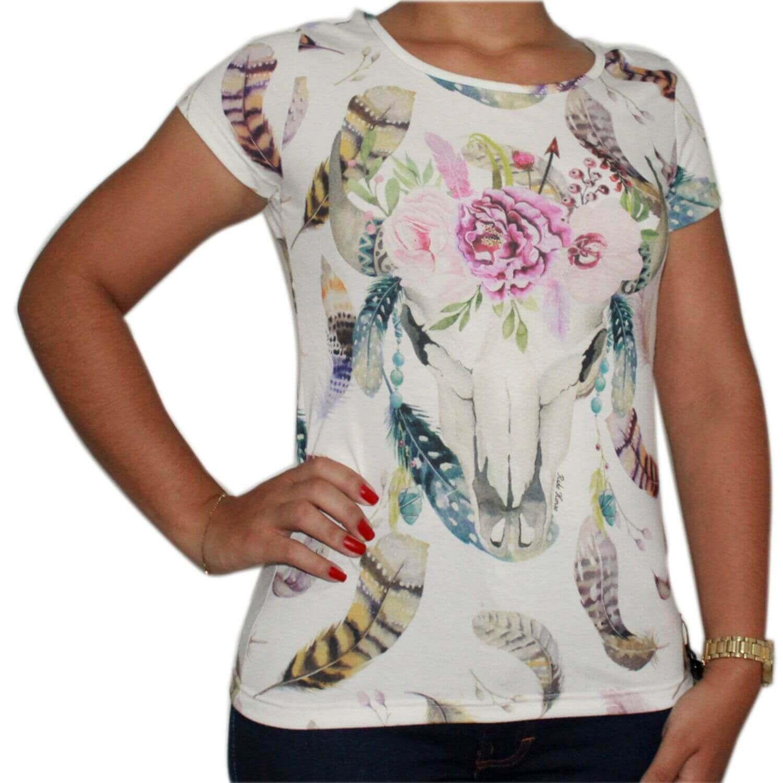 Camiseta Feminina Branco Ride Horse - Arena Country Echaporã f4dbb6a42a3