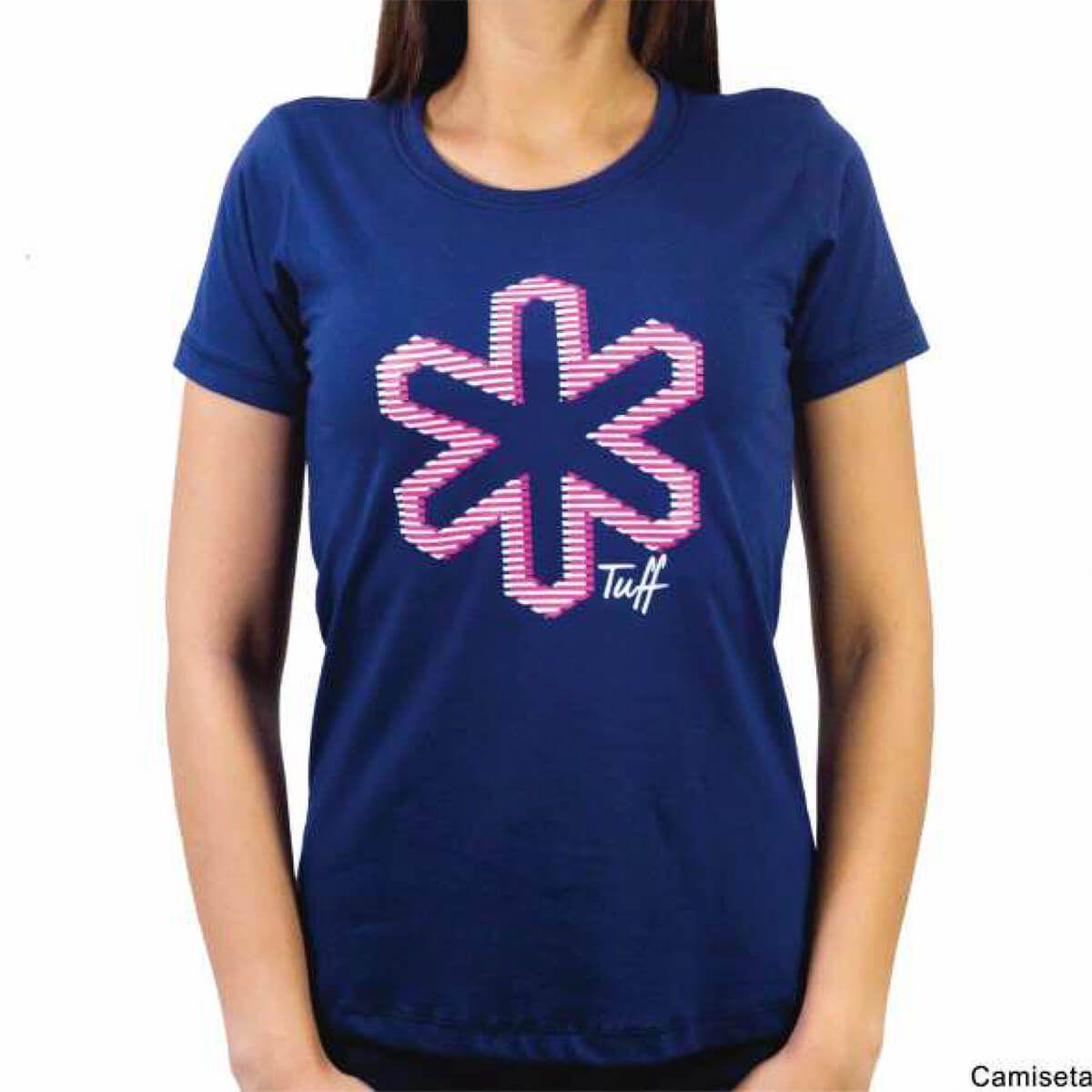c8399e4609 Camiseta Tuff Feminina Azul Marinho Logo Rosa - Arena Country Echaporã
