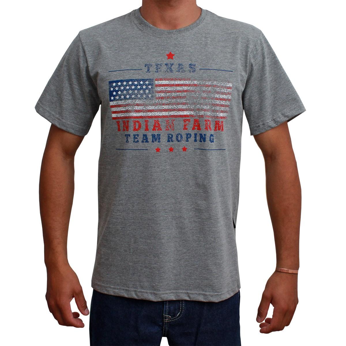 Camiseta Indian Farm Masculina Cinza Bandeira USA