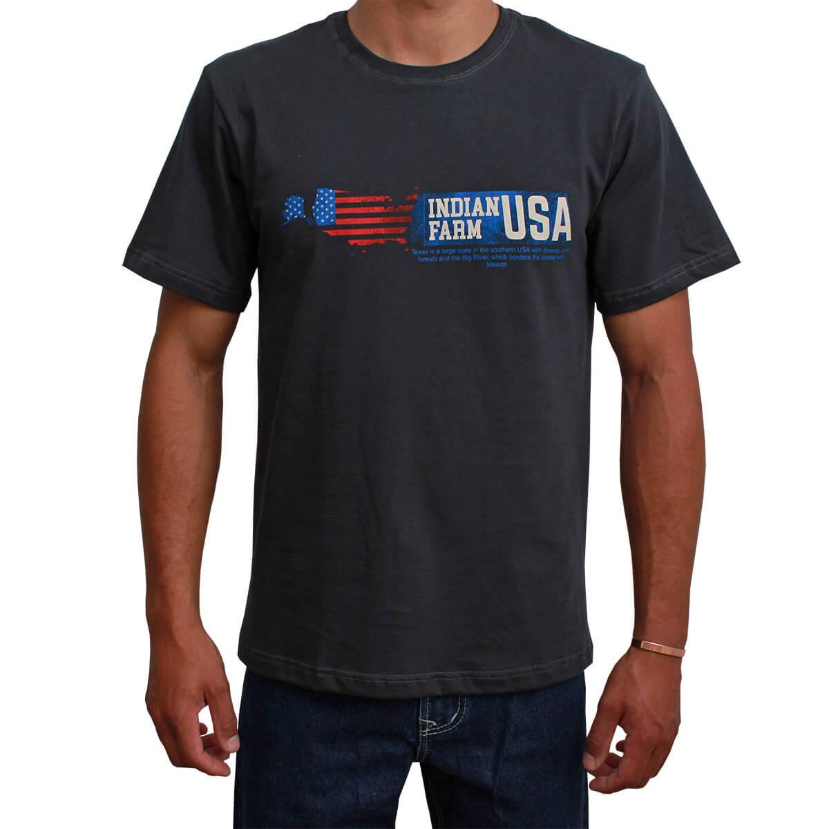 Camiseta Indian Farm Masculina Cinza Chumbo Texas IS