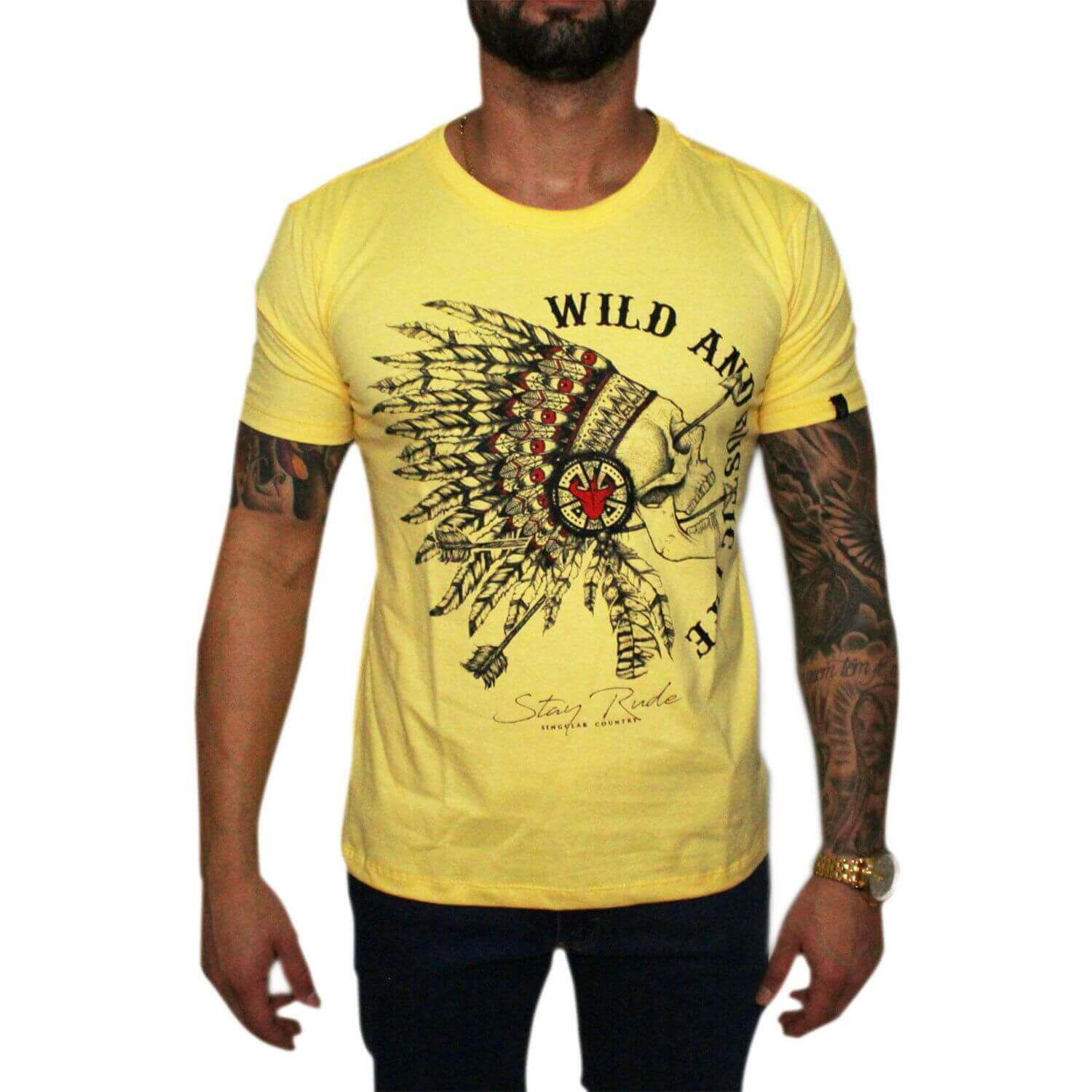 Camiseta Stayrude Masculina Amarela Native