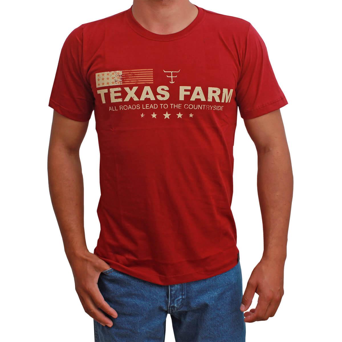 Camiseta Masculina Texas Farm Vermelha Lead To The