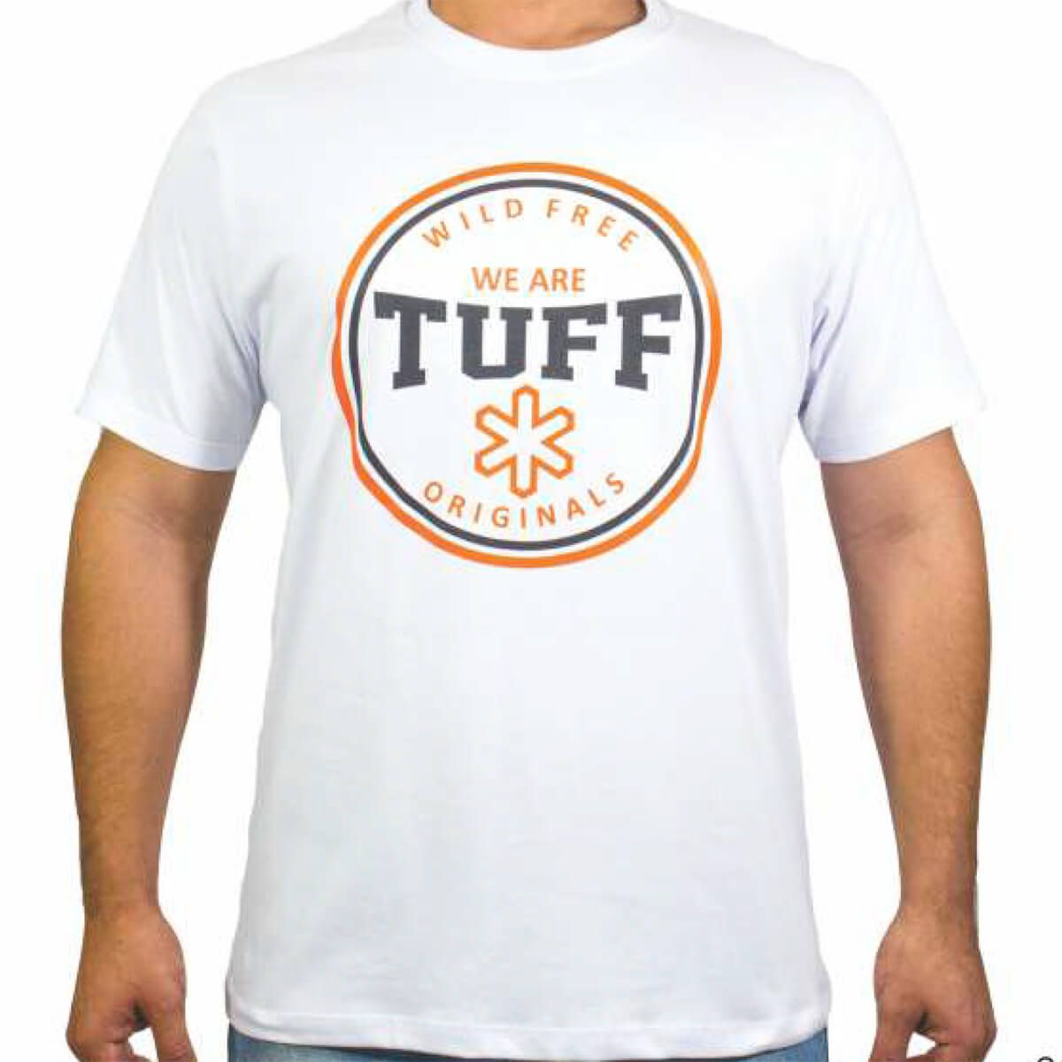 4afb4fe297ec1 Camiseta Tuff Masculina Branca Logo Laranja - Arena Country Echaporã