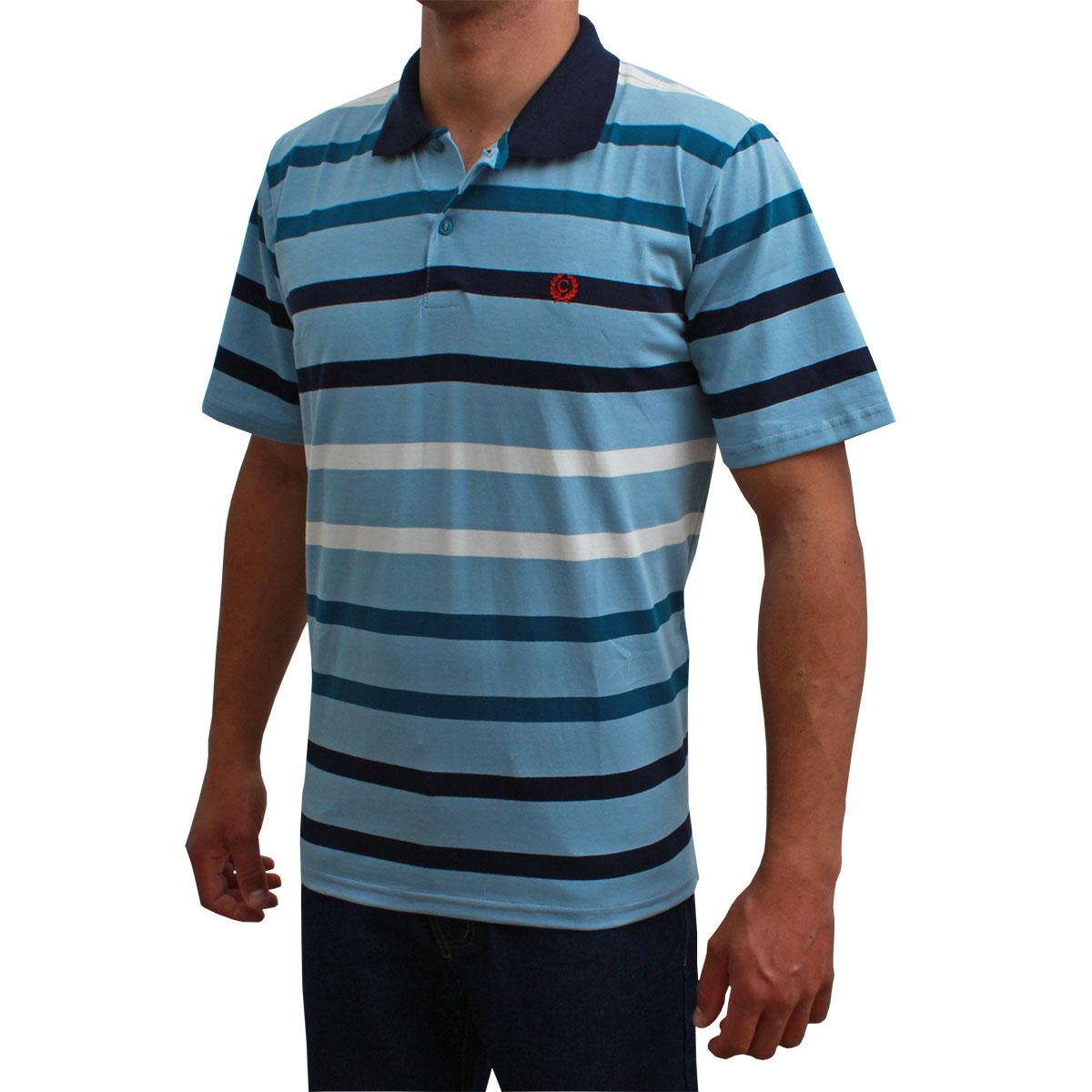 Camiseta Polo Classic Listrada Azul