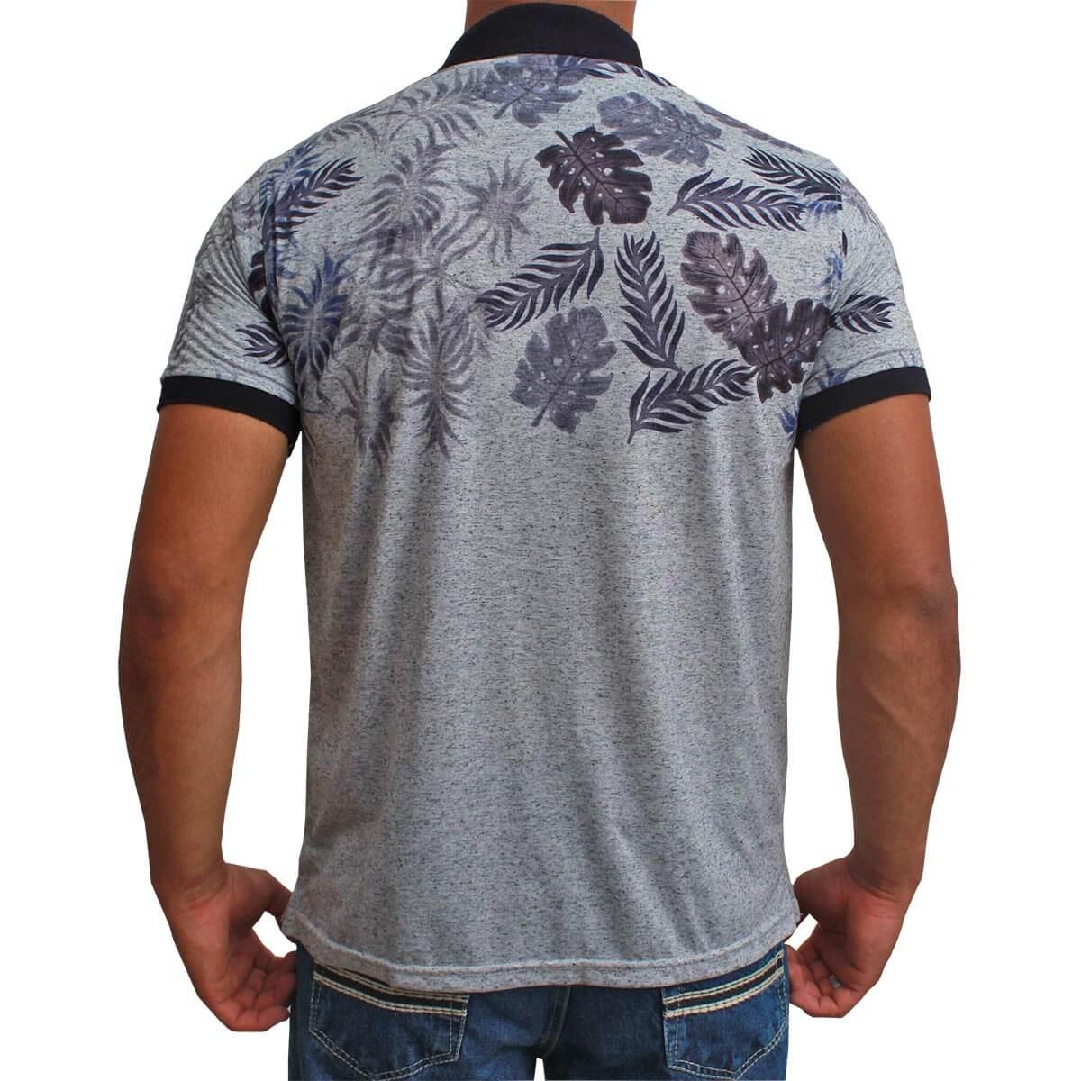 Camiseta Polo Os Vaqueiros Floral Cinza Mescla