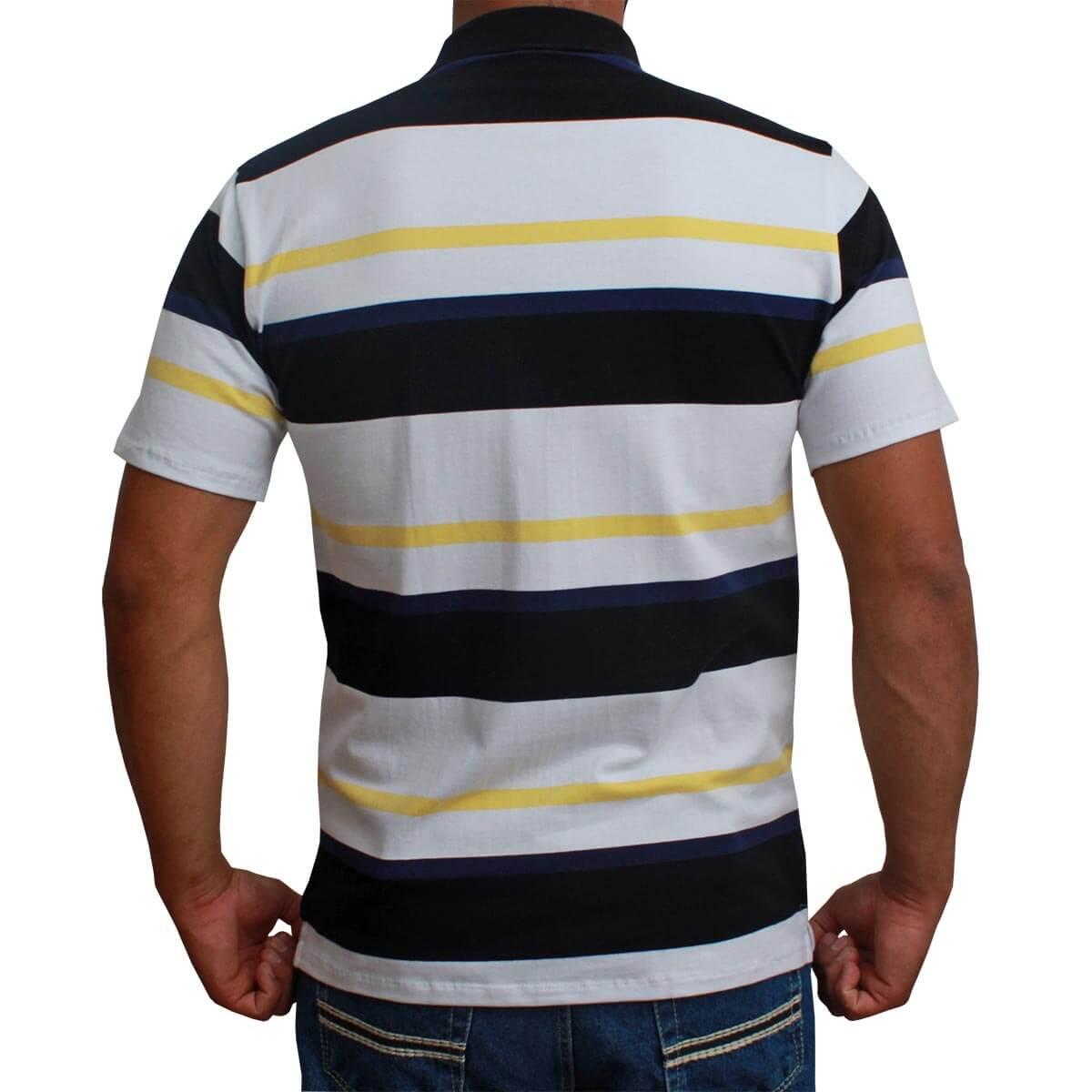 Camiseta Polo Os Vaqueiros Listrada Branco E Preto