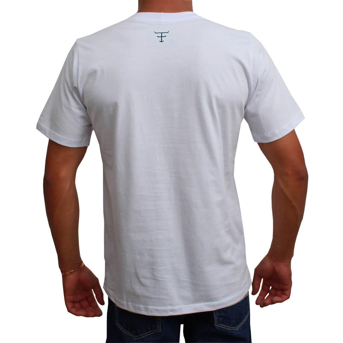 Camiseta Texas Farm Masculina Branca Logo Laranja