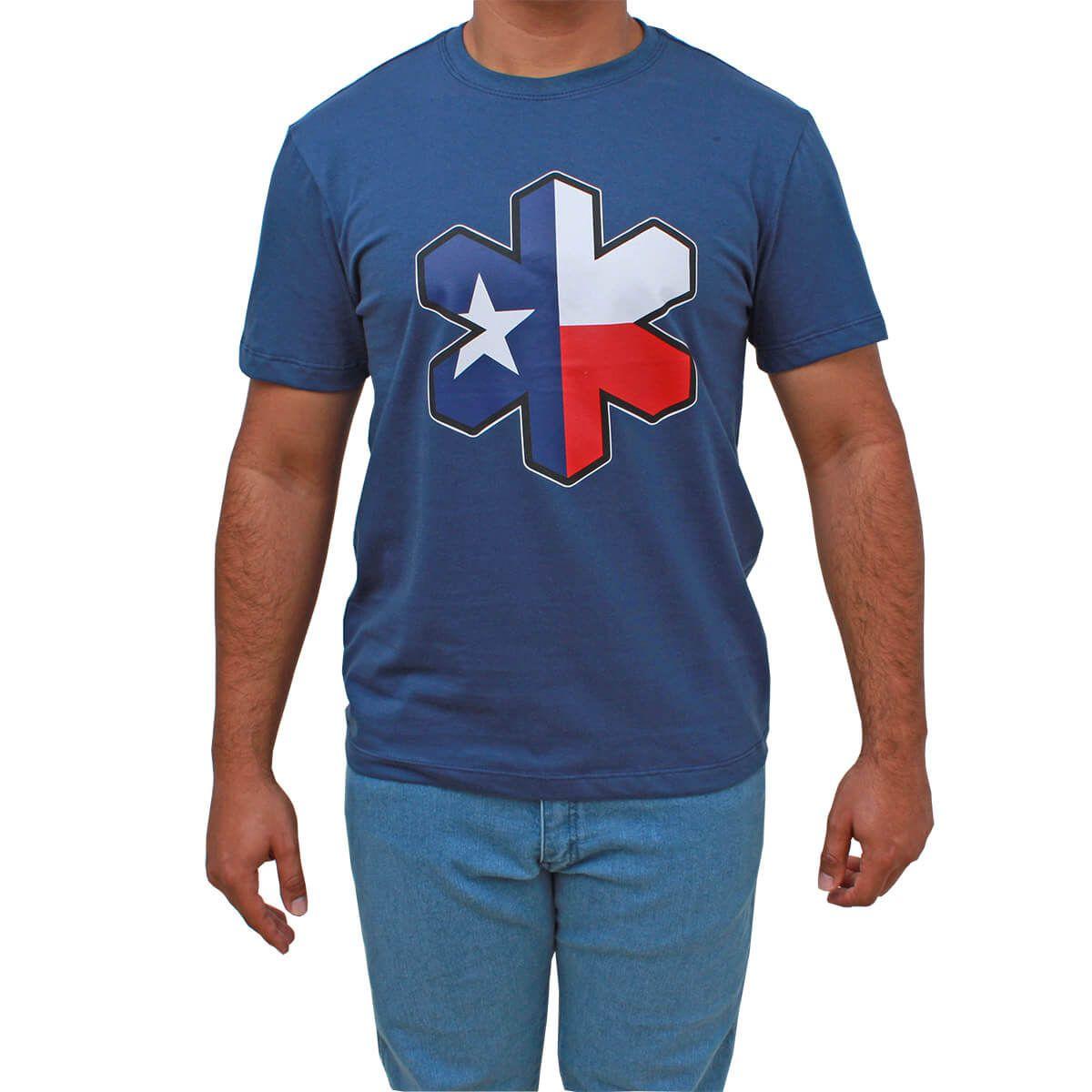 Camiseta Tuff Masculina Azul Marinho Com Logo Texas