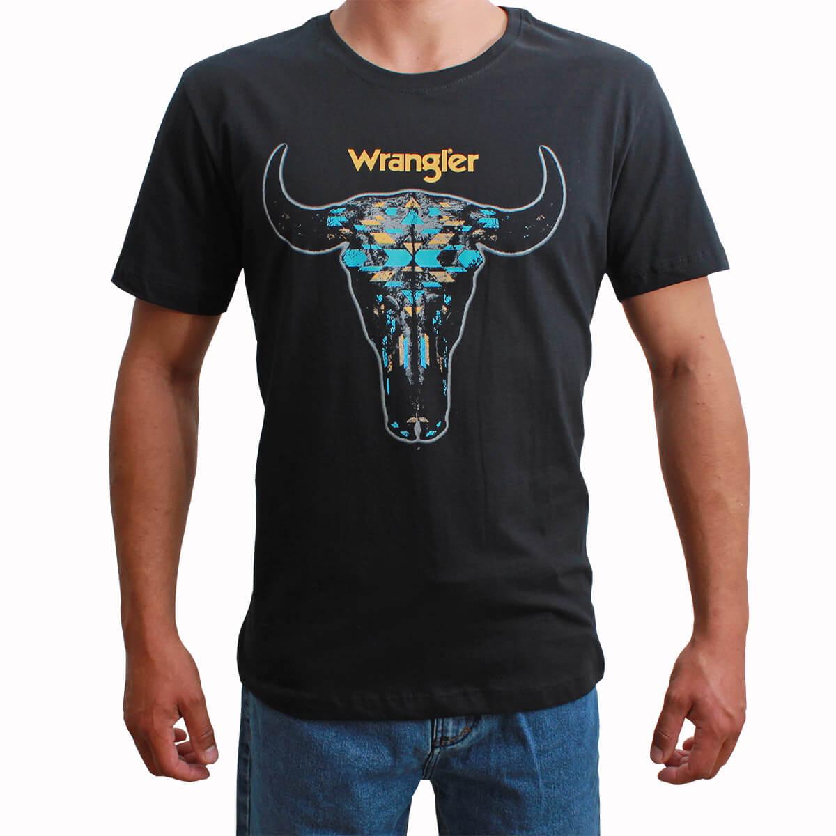 Camiseta Wrangler Preta Crânio De Boi