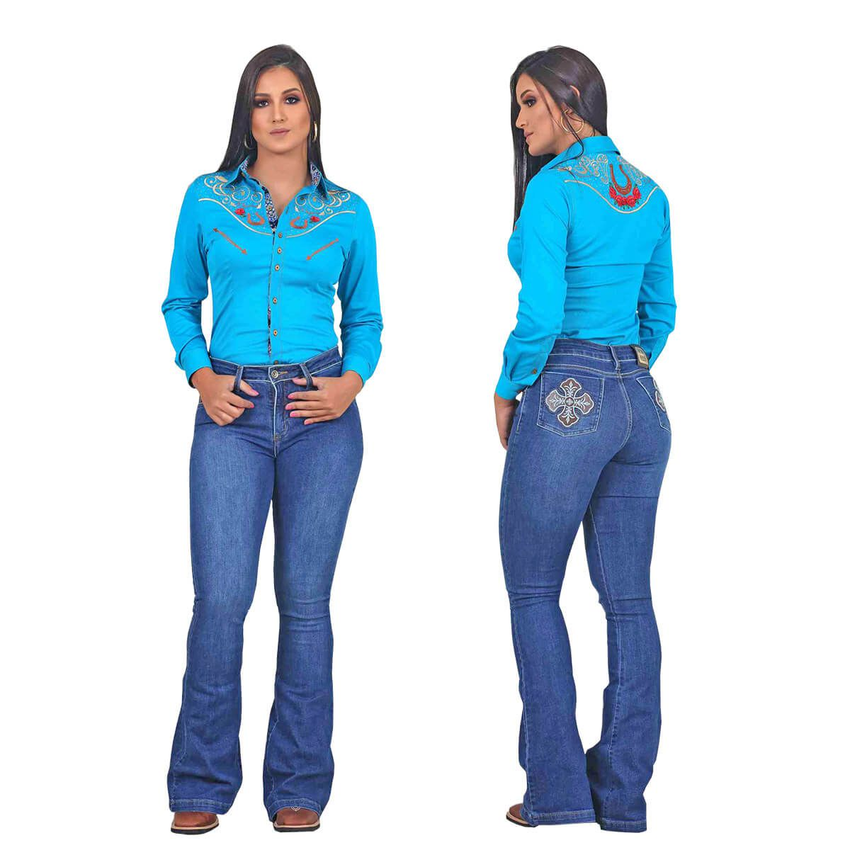 Camisete Os Vaqueiros Azul Turquesa Ferradura