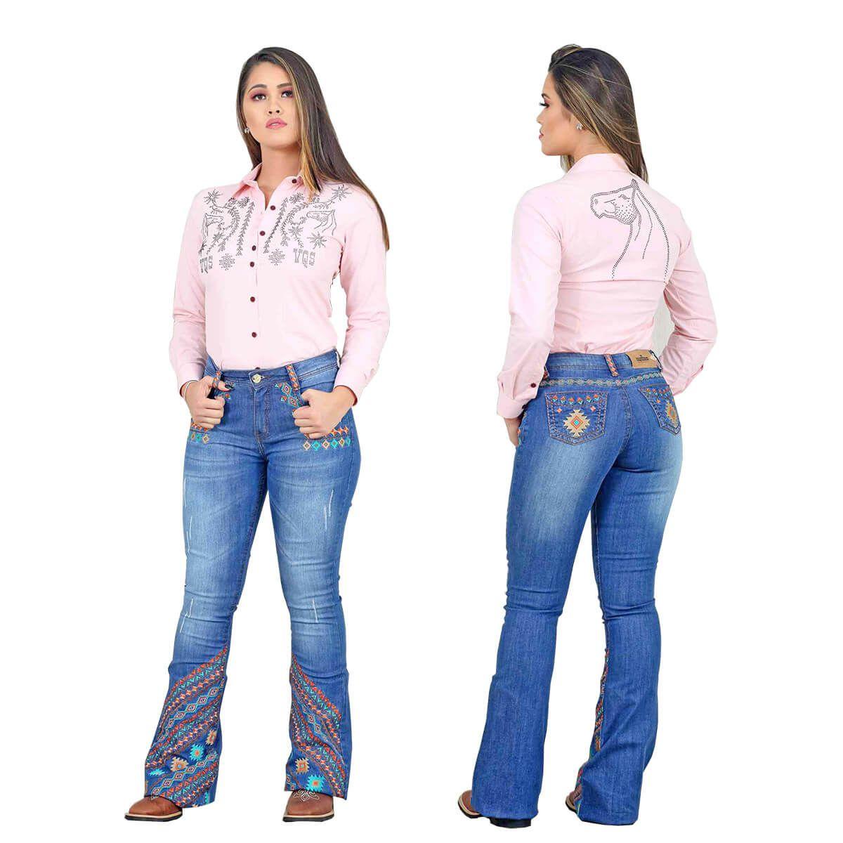 Camisete Os Vaqueiros Feminina Rosa Com Pedras