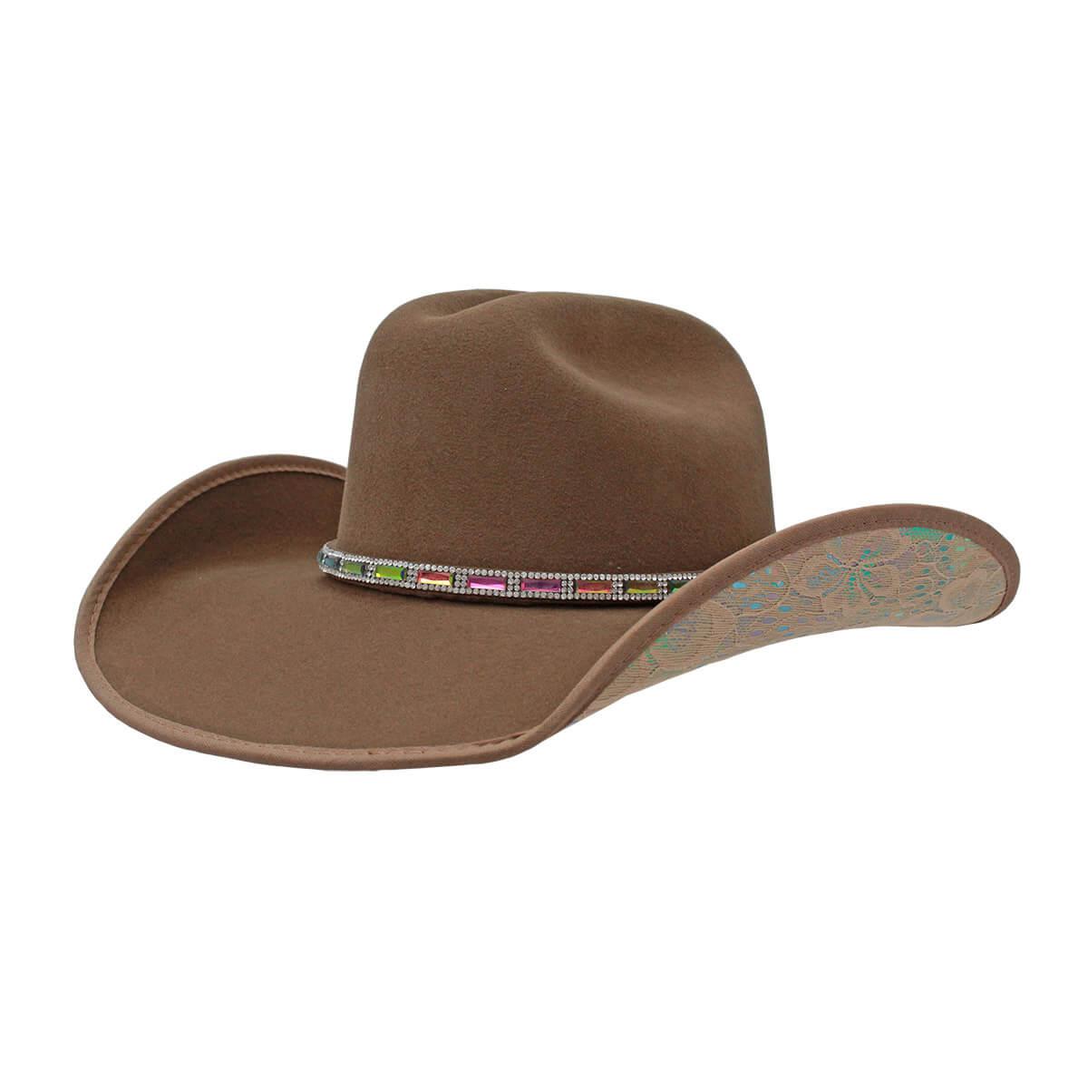 Chapéu Dallas Arizona Feminino Bege de Forró Bordado