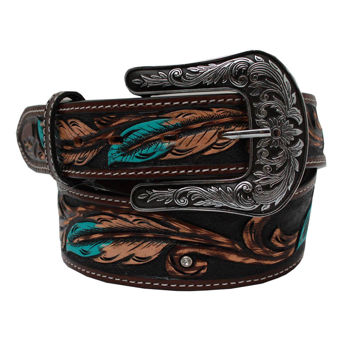 Cinto Arizona Belts Com Detalhe Azul Bordado Pena