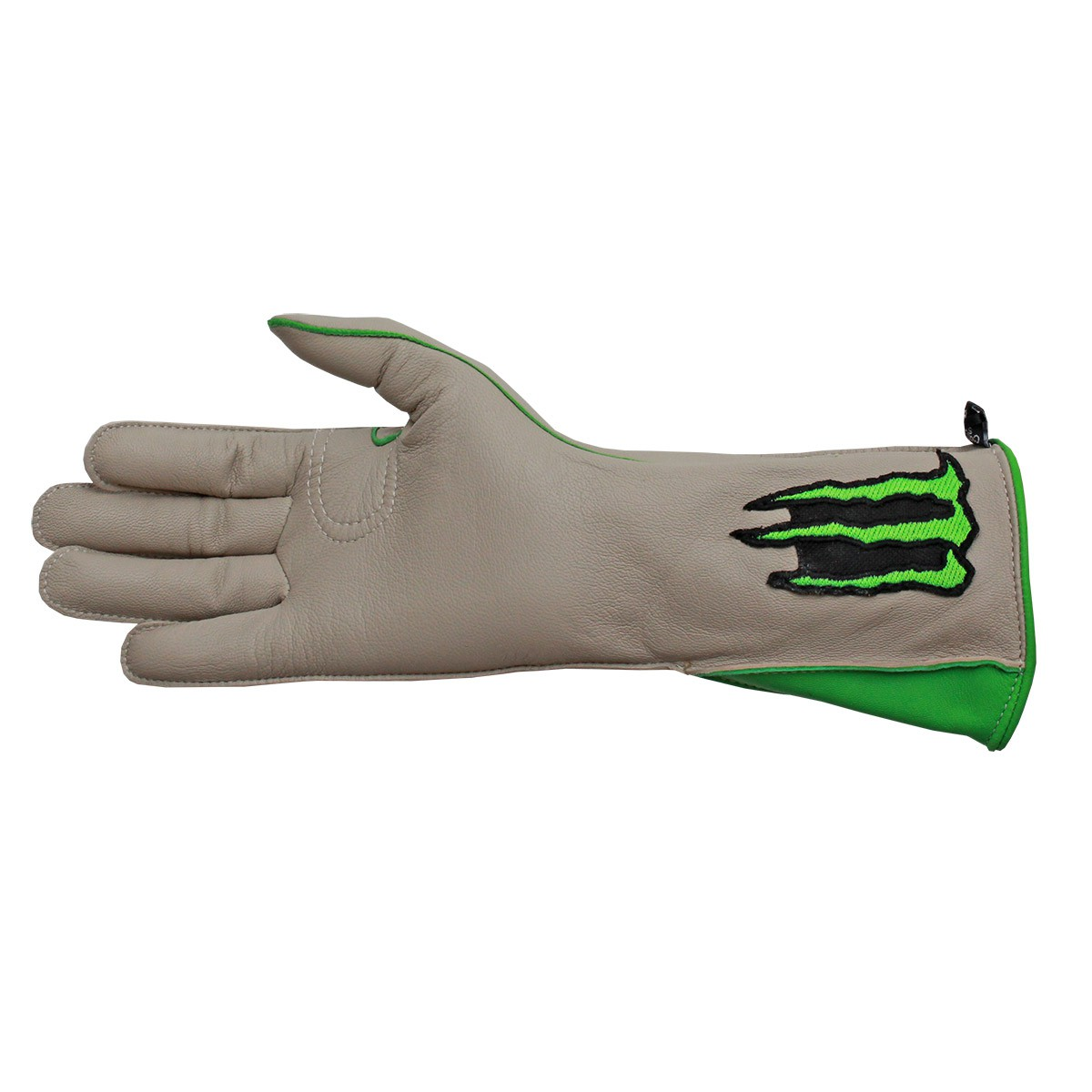 Luva De Montaria Cowboy Strong Monster Bege Com Verde Mão Esquerda
