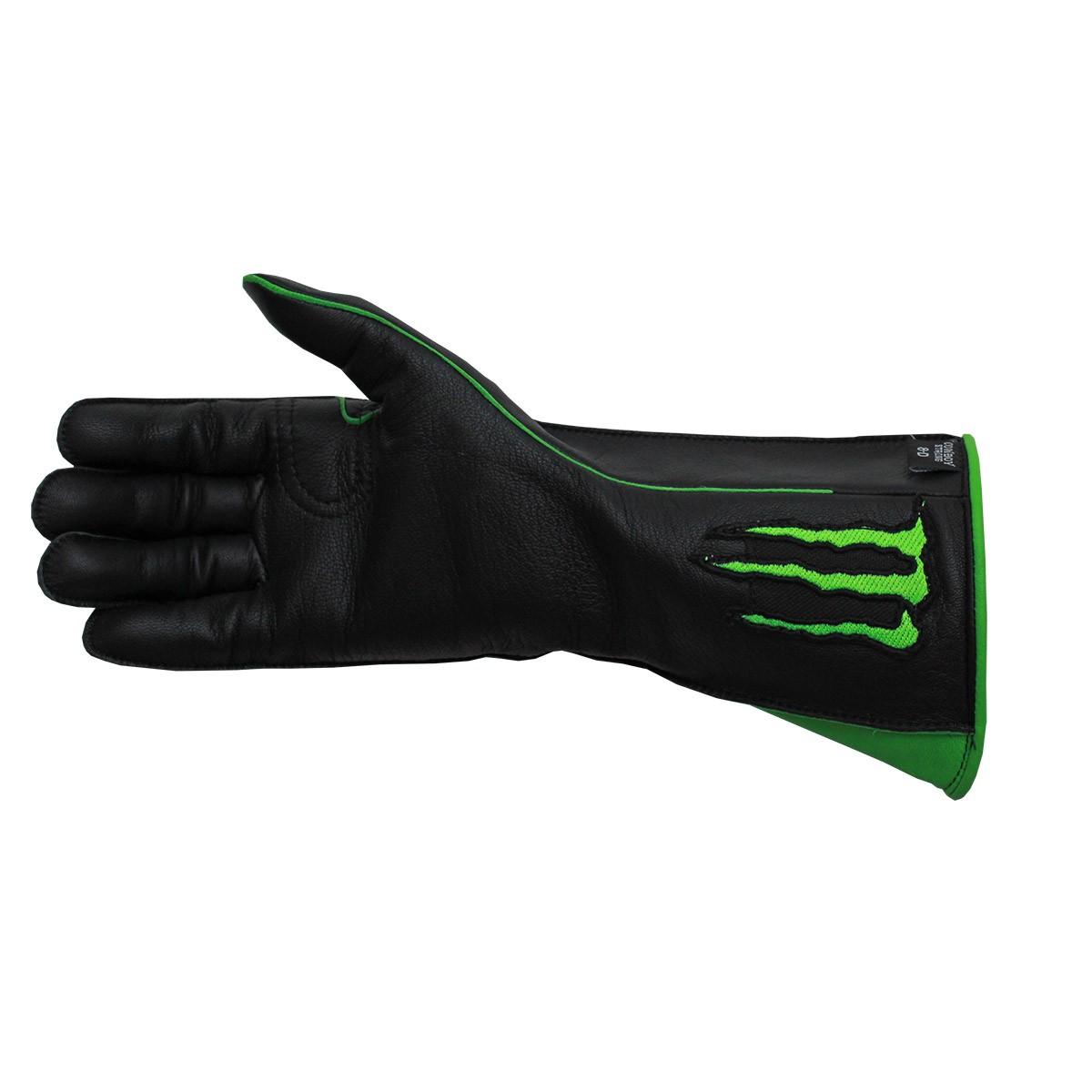Luva De Montaria Cowboy Strong Monster Preta Com Verde Mão Esquerda
