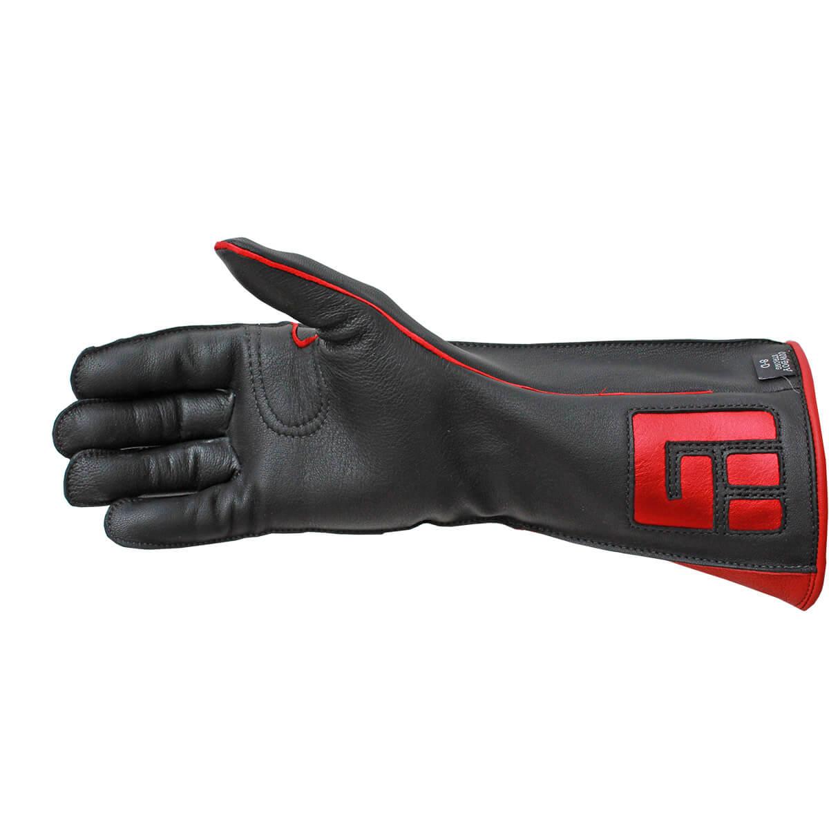 Luva De Montaria Guilherme Marchi Mão Esquerda Preta Logo Vermelho