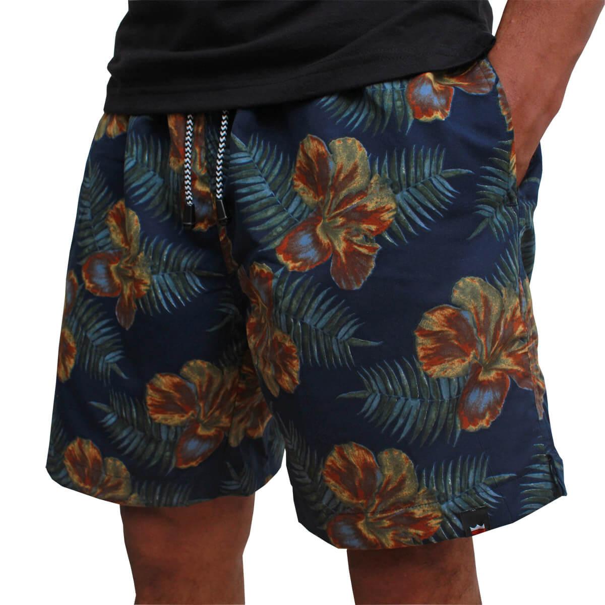 Short Os Vaqueiros Masculino Azul Estampa Floral