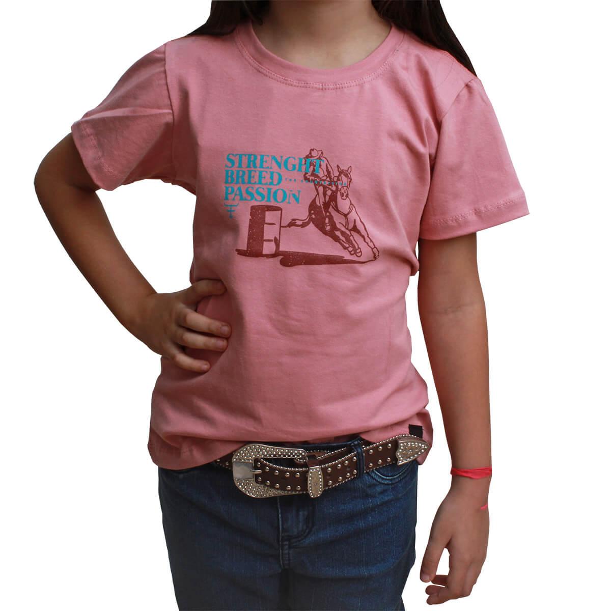 T-Shirt Infantil Texas Farm Rosa 3 Tambor