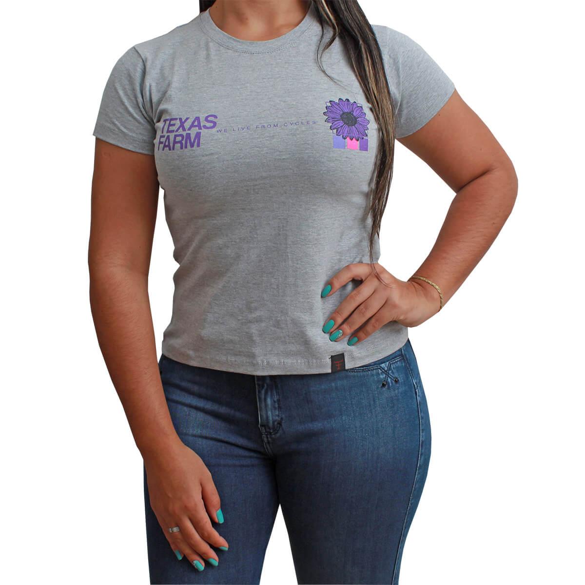 T-Shirt Texas Farm Cinza Girassol