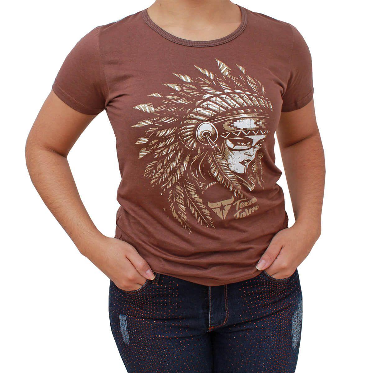 T Shirt Texas Farm Marrom Índio