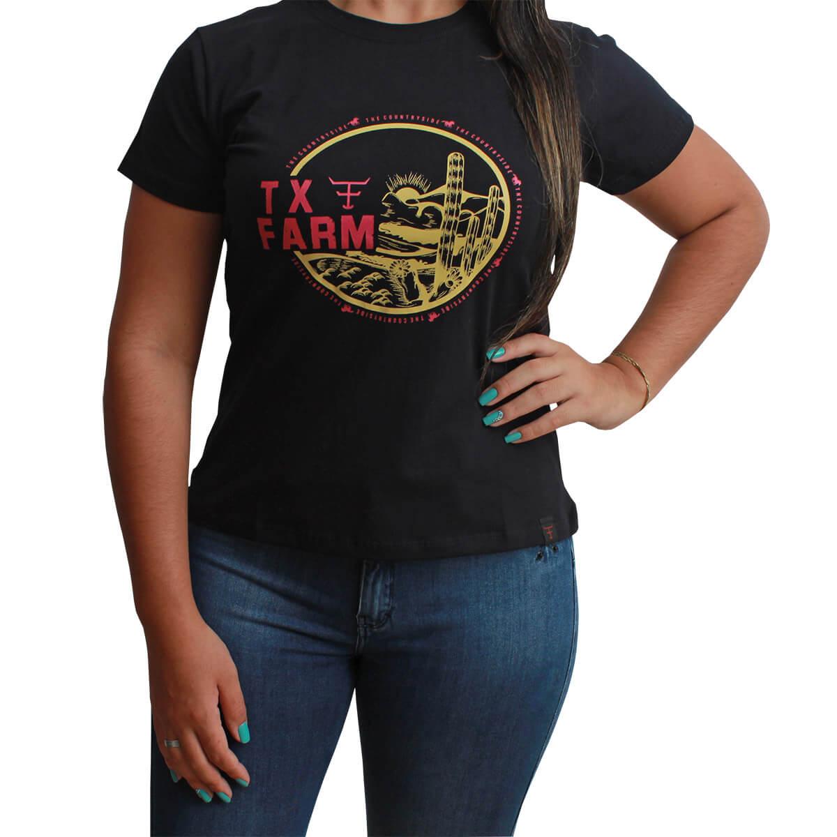 T-Shirt Texas Farm Preta Com Estampa De Cacto