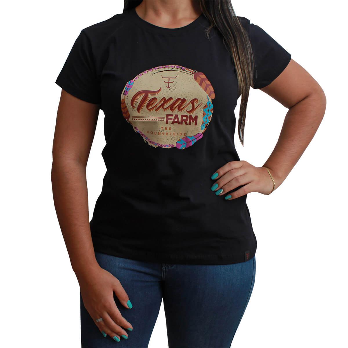 T-Shirt Texas Farm Preta Com Estampa De Pena