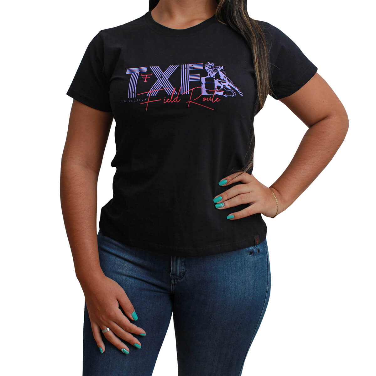 T-Shirt Texas Farm Preta Com TXF Roxo