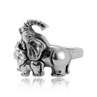 Anel Elefantes Prata 925