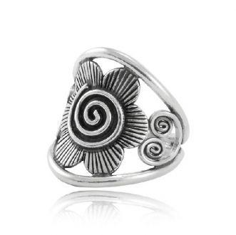 Anel Flor Espiral Prata 925