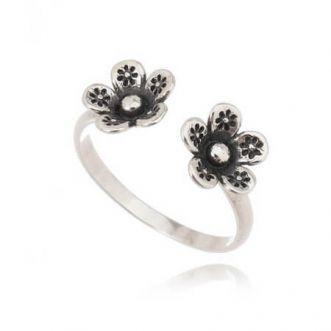 Anel Flores Prata 925 Envelhecido