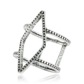 Anel Geométrico Envelhecido Prata 925